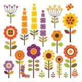 Vektorsamlingen av isolerade blommor i höst färgar Arkivfoton