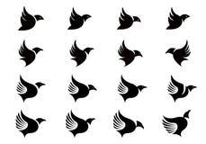 Vektorsamlingen av konturer för flygfågel planlägger mallen stock illustrationer