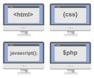 Vektorsammlung Bildschirme mit Netz Stockbild