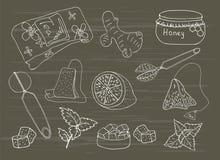 Vektorsammlung der Hand gezeichneten Teeillustration Lizenzfreies Stockfoto
