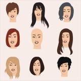 Vektorsammlung Frauen ` s Perücken Stockfotos
