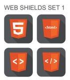 Vektorsammlung HTML-Web-Entwicklungs-Schildzeichen: html5, t Stockfotos