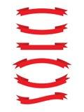 Vektorsammlung: rote Bänder Stockbilder