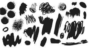 Vektorsammlung schwarze Farbe, Tintenbürstenanschläge, Bürsten, Linien Künstlerische Gestaltungselemente des Schmutzes, Illustrat stock abbildung
