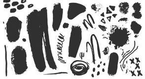 Vektorsammlung schwarze Farbe, Tintenbürstenanschläge, Bürsten, Linien Künstlerische Gestaltungselemente des Schmutzes, Illustrat lizenzfreie abbildung