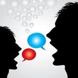 Vektorsamtalhuvudet med anförande bubblar Arkivfoton
