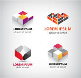 Vektorsatz abstrakte geometrische Logos, 3d Struktur, Blöcke lizenzfreie abbildung
