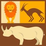 Vektorsatz afrikanische Tiere Lizenzfreie Stockfotos