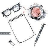 Vektorsatz Arbeitsgeräte: Notizbuch, Stift, Gläser, Schale coff lizenzfreies stockbild