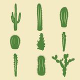 Vektorsatz auf Lager Kaktusikonen Lizenzfreie Stockfotos