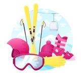 Vektorsatz ausführliche flache Skifahrenausrüstung Enthält Ski, Stiefel, Sturzhelm, Gläser, Handschuhe und Hut Stockfotos