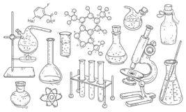 Vektorsatz Ausrüstung für die chemischen und medizinischen Experimente lizenzfreies stockfoto