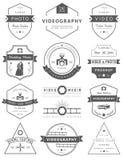 Vektorsatz Ausweise Fotografie und Videography lizenzfreie abbildung
