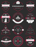 Vektorsatz Ausweise Fotografie und Videography Lizenzfreies Stockfoto