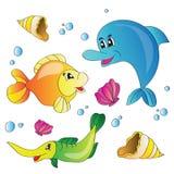 Vektorsatz Bilder das Meeresflora und -fauna Lizenzfreie Stockfotografie