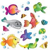 Vektorsatz Bilder das Meeresflora und -fauna Lizenzfreie Stockbilder