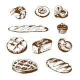 Vektorsatz Brot- und Bäckereiprodukte Lizenzfreies Stockbild