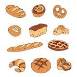 Vektorsatz Brot- und Bäckereiprodukte Lizenzfreies Stockfoto