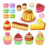 Vektorsatz bunte Nachtische macarons, profiteroles, Torte, Erdbeere fraisier, Eclair, Zitronenkuchen, Obsttorte, Meringen stock abbildung