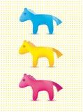 Vektorsatz bunte nette Spielzeugpferdeikonen Stockfotos