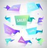 Vektorsatz bunte Verkaufsfahnen, Blasen, Papierikonen des Origamis 3d vektor abbildung