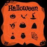 Vektorsatz Charaktere und Ikonen für Halloween in der Karikaturart Stockfotos