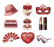 Vektorsatz Damenmodezubehör Hut, Karnevalsmaske, Handtasche, Fan, Herzkissen, Parfüm, Lippenstift, Ring mit einem Diamanten stock abbildung