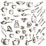 Vektorsatz Daumennagelikonen von Tellern und von Küchengeräten stock abbildung
