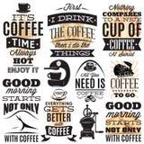 Vektorsatz dekorative Aufschriften auf weißem Hintergrund auf Themakaffee Lizenzfreie Stockbilder