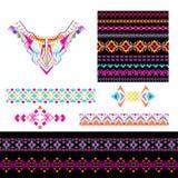 Vektorsatz dekorative Elemente für Design und Mode in der ethnischen Stammes- Art Ausschnitt, nahtlos, Grenzen und Muster collect lizenzfreie abbildung