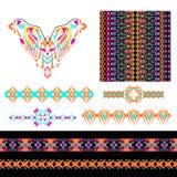 Vektorsatz dekorative Elemente für Design und Mode in der ethnischen Stammes- Art Ausschnitt, nahtlos, Grenzen und Muster collect vektor abbildung