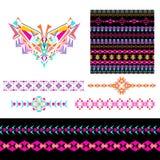 Vektorsatz dekorative Elemente für Design und Mode in der ethnischen Stammes- Art Ausschnitt, nahtlos, Grenzen und Muster collect stock abbildung