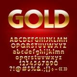 Vektorsatz dekorative Goldbuchstaben, -symbole und -zahlen Lizenzfreie Stockfotografie