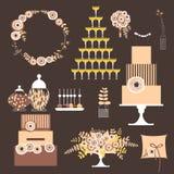 Vektorsatz dekorative Hochzeitselemente Stockfoto