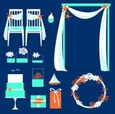 Vektorsatz dekorative Hochzeitselemente Stockbild