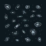 Vektorsatz der Hand gezeichneten Galaxie Gewundene Galaxie Lizenzfreies Stockfoto