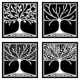 Vektorsatz der Hand gezeichneten Illustration, dekorativer dekorativer stilisierter Baum Grafische Schwarzweiss-Illustration loka Stockfoto