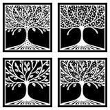 Vektorsatz der Hand gezeichneten Illustration, dekorativer dekorativer stilisierter Baum Grafische Schwarzweiss-Illustration loka Stockfotografie