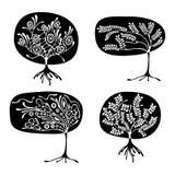 Vektorsatz der Hand gezeichneten Illustration, dekorativer dekorativer stilisierter Baum Grafische Schwarzweiss-Illustration loka Lizenzfreies Stockbild