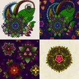 Vektorsatz der Hand gezeichneten Mandala und nahtloses Stockbilder