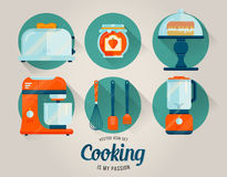 Vektorsatz der Küchengeschirrikone kochen Stockbild