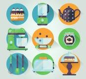 Vektorsatz der Küchengeschirrikone Kochen der Illustration in der flachen Art Küchensammlungs-Grafikikonen Lizenzfreie Stockfotos