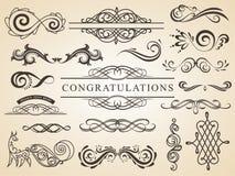 Vektorsatz der kalligraphischen Gestaltungselementseitendekoration Wedding Auslegung-Elemente vektor abbildung