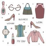 Vektorsatz der Kleidungs- und Zubehörsammlung auf Weiß Stockfoto