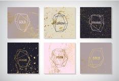 Vektorsatz der Linie goldene Rahmen, Karten mit Beschaffenheit Hochzeitseinladung außer dem Datumskartenentwurf mit eleganter Fol lizenzfreies stockfoto