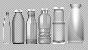 Vektorsatz der transparenten Glasgefäßflasche Lizenzfreie Stockbilder