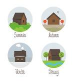 Vektorsatz des Dorfs bringt Ikonen unter lizenzfreie abbildung