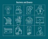 Vektorsatz des Geschäfts und der Finanzierung Stockbilder