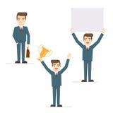 Vektorsatz des Geschäftsmannes in den verschiedenen Haltungen Stockfotos