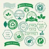 Vektorsatz des gesunden Lebensmittels und der Umwelt der Ökologie Stockfoto